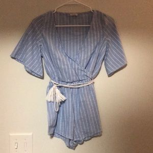 Tobi Blue and White Romper